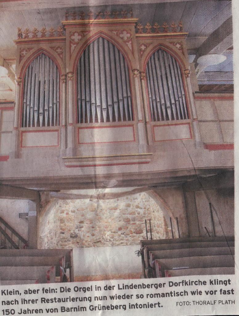 Klein, aber fein: Die Orgel in der Lindenberger Dorfkirche klingt nach ihrer Restaurierung nun wieder so romantisch wie vor fast 150 Jahren von Barnim Grüneberg intoniert.    Foto: Thoralf Plath