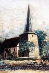 Zeichnung der Kirche mit Kirchturm
